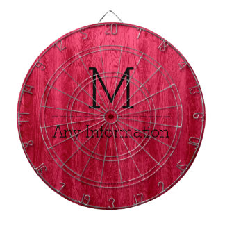 Red Wood Grain Texture Monogram Dart Boards