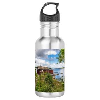 Red wooden cottage in Sweden 532 Ml Water Bottle