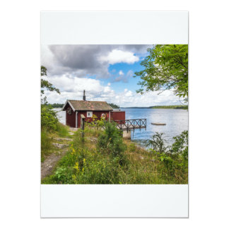 Red wooden cottage in Sweden Card
