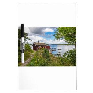 Red wooden cottage in Sweden Dry Erase Board