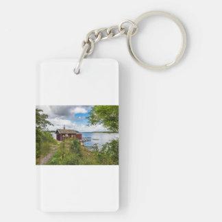 Red wooden cottage in Sweden Key Ring