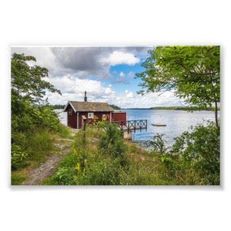 Red wooden cottage in Sweden Photo Print