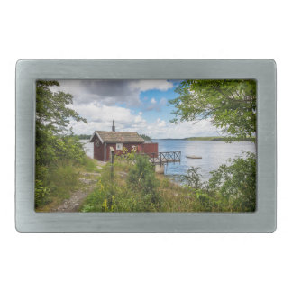 Red wooden cottage in Sweden Rectangular Belt Buckle