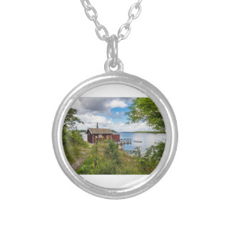 Red wooden cottage in Sweden Silver Plated Necklace