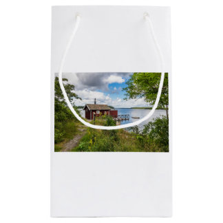 Red wooden cottage in Sweden Small Gift Bag