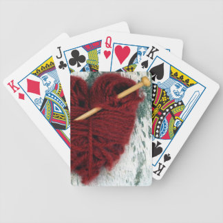 Red wool heart on birch bark photograph bicycle playing cards