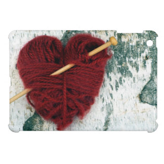 Red wool heart on birch bark photograph case for the iPad mini