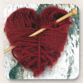 Red wool heart on birch bark photograph coaster
