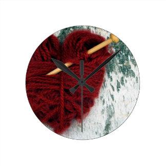 Red wool heart on birch bark photograph round clock