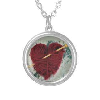 Red wool heart on birch bark photograph silver plated necklace