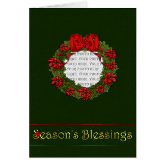 Red Wreath Blessings Card