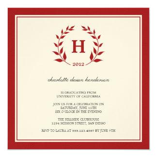 """Red wreath monogram graduation class invitation 5.25"""" square invitation card"""