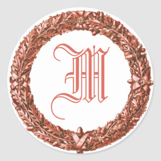 Red Wreath Monogrammed Stickers