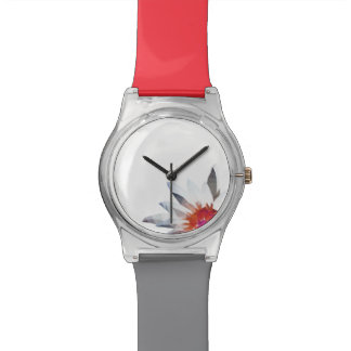 Red Wrist Watch with Waterlily Abstract