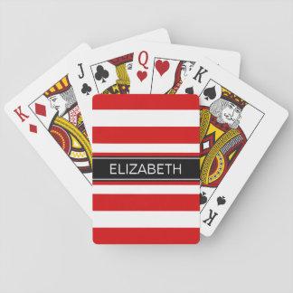Red Wt Horz Preppy Stripe Black Name Monogram Playing Cards