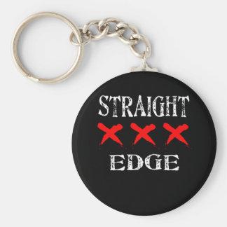 Red X Straight Edge Black Key Ring