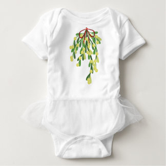 red xmas mistletoe baby bodysuit