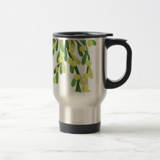 red xmas mistletoe travel mug