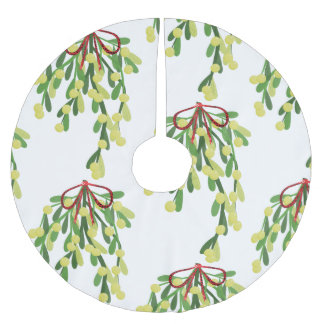 red xmas mistletoe tree skirt