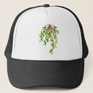 red xmas mistletoe trucker hat