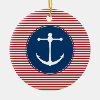 Red Yacht Club Pattern Ceramic Ornament