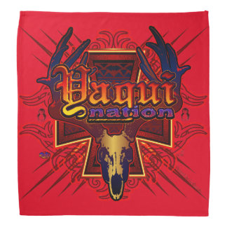 Red Yaqui Nation Deer Skull Bandana design