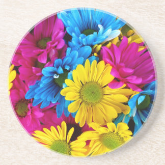 red,yellow and blue daisies sandstone coaster