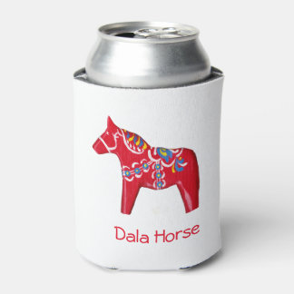 Red, Yellow and Blue Dala Horse Can Cooler