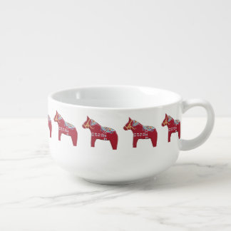 Red, Yellow and Blue Dala Horse Soup Bowl With Handle