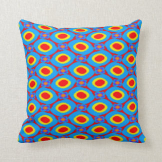 Red,Yellow and Blue Folk Art Abstract Dots Pattern Cushion