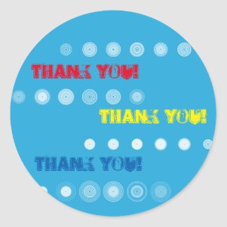 Red Yellow and Blue Thank You Circle Sticker