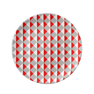 Red Yellow And Gray Diamonds Plate