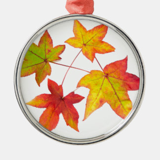 Red yellow and green autumn leaves Silver-Colored round decoration