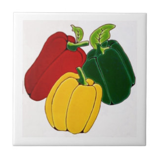 Red, Yellow and Green Peppers Ceramic Tile