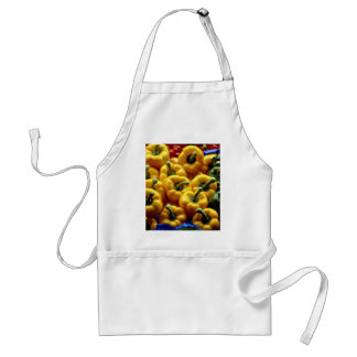 Red, yellow and green sweet peppers apron