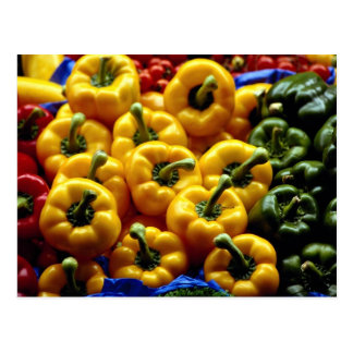 Red, yellow and green sweet peppers postcard