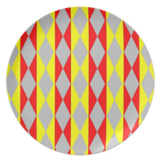 Red, Yellow And Grey Diamonds Plate