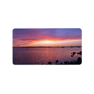 Red, Yellow, and Pink Sunset with Ocean and Clouds Address Label