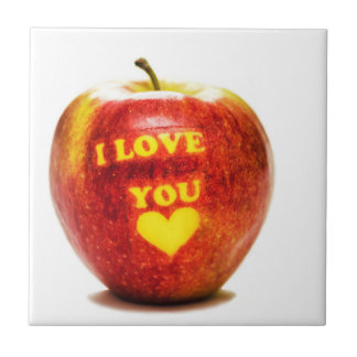 Red Yellow Apple Fruit I Love You Ceramic Tile