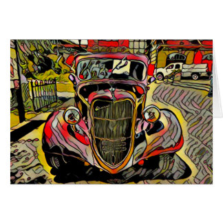 Red Yellow Artistic Vintage Auto Card