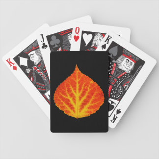 Red & Yellow Aspen Leaf #10 Bicycle Playing Cards