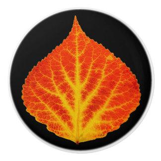 Red & Yellow Aspen Leaf #10 Ceramic Knob