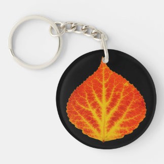 Red & Yellow Aspen Leaf #10 Double-Sided Round Acrylic Key Ring