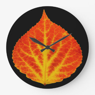 Red & Yellow Aspen Leaf #10 Large Clock