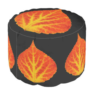 Red & Yellow Aspen Leaf #10 Pouf