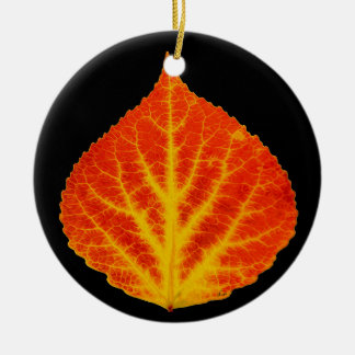 Red & Yellow Aspen Leaf #10 Round Ceramic Decoration