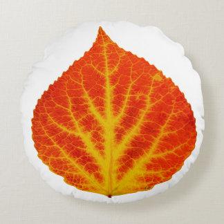 Red & Yellow Aspen Leaf #10 Round Cushion