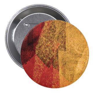Red yellow black abstract paint brush art 7.5 cm round badge