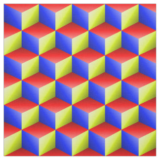 Red Yellow Blue 3D Look Cubes Pattern 20P Fabric