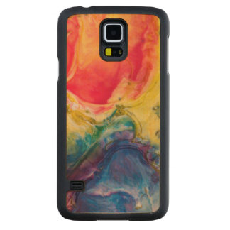 Red Yellow Blue Abstract Painting Carved Maple Galaxy S5 Case